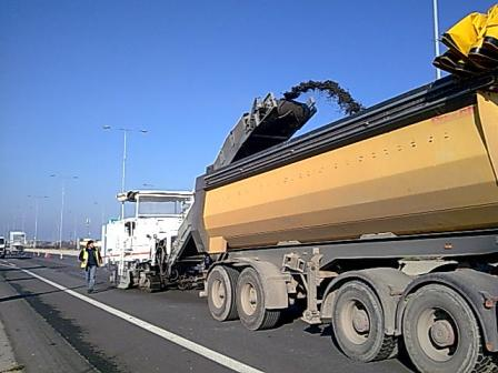 Asphalt cold milling works Down town Thessaloniki Greece